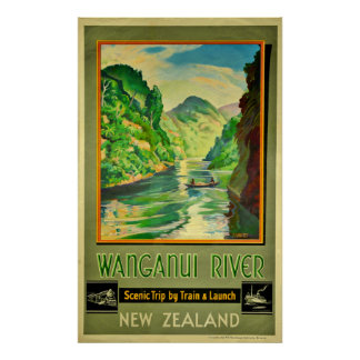 Vintage Wanganui River New Zealand Scenic Travel Poster