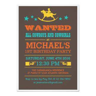 """Vintage Wanted Western Cowboy Birthday Invitation 5"""" X 7"""" Invitation Card"""