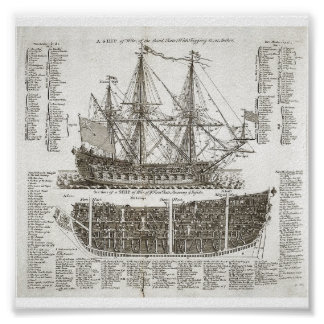 Vintage Warship Diagram Poster