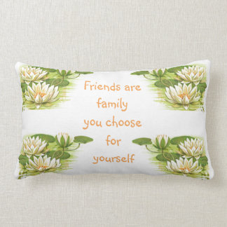 Vintage Water Lilies Image - Friendship Quote Lumbar Cushion