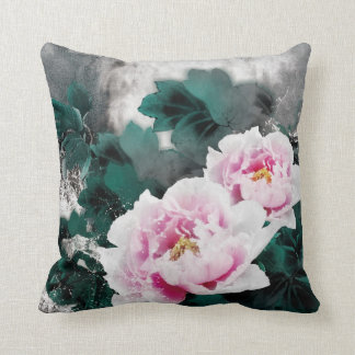 Vintage Water Lily Flowers - Chinese Painting Art Throw Pillow