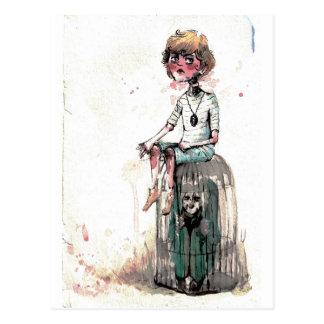 Vintage Watercolor Boy and Cage Postcard