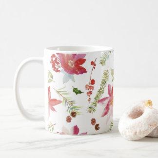 Vintage Watercolor Christmas Florals Coffee Mug