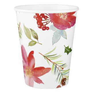 Vintage Watercolor Christmas Florals Paper Cup