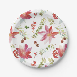 Vintage Watercolor Christmas Florals Paper Plate