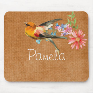 Vintage Watercolor Floral Bird Personalised Mouse Pad