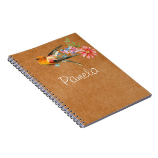 Vintage Watercolor Floral Bird Personalized Notebooks