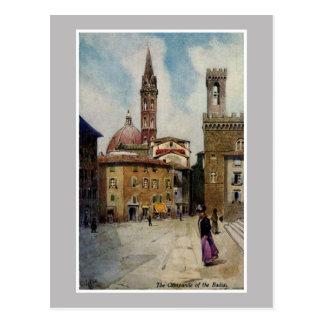 Vintage watercolor Florence Campanile Postcard
