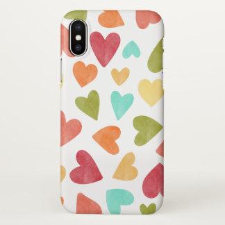 Vintage Watercolor Hearts Valentine iPhone X Case