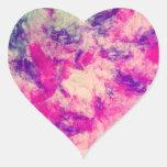 Vintage Watercolor Pattern Abstract Pink Purple Heart Sticker