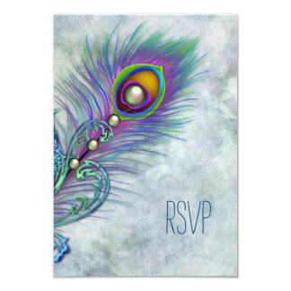 Vintage Watercolor Peacock RSVP 9 Cm X 13 Cm Invitation Card
