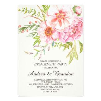 Vintage Watercolor Peonies Engagement Invitation