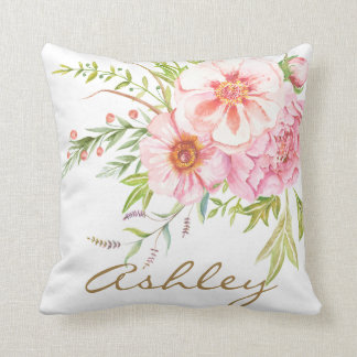 Vintage Watercolor Peonies Personalised Pillow