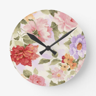 Vintage Watercolor Roses Round Clock