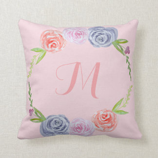 Vintage Watercolor Roses / Monogram Cushion