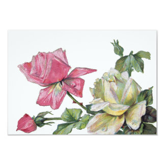 Vintage Watercolor Roses Small RSVP Reply 9 Cm X 13 Cm Invitation Card