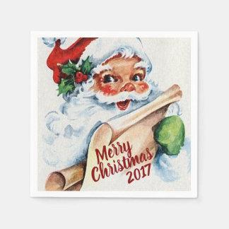 Vintage Watercolor Santa Claus Merry Christmas Disposable Napkins