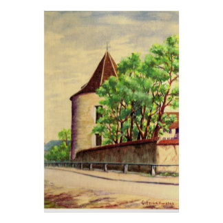 Vintage watercolour  A vineyard in France Poster