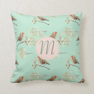 Vintage Watercolour European Robins with Monogram Cushion