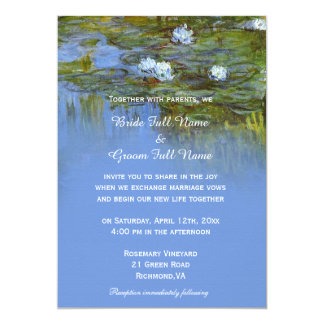 vintage waterlily oil painting wedding card