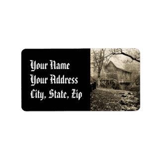 Vintage Waterwheel Address Label