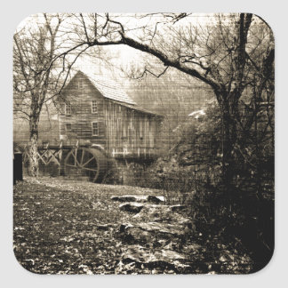 Vintage Waterwheel Square Sticker