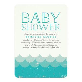 Vintage Waves Beach Baby Shower Invitation