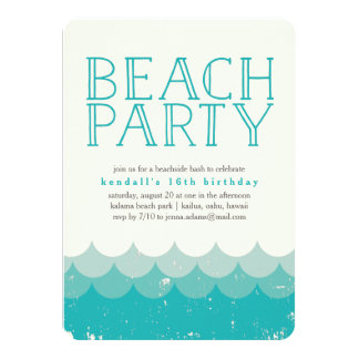 Vintage Waves Beach Party Invitation