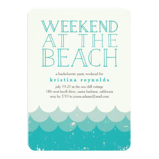 Vintage Waves Beach Weekend Getaway Invitation