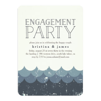 Vintage Waves Engagement Party Invitation