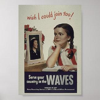 Vintage Waves Poster