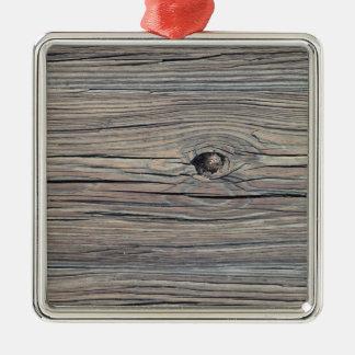 Vintage Weathered Wood Background - Old Board Metal Ornament