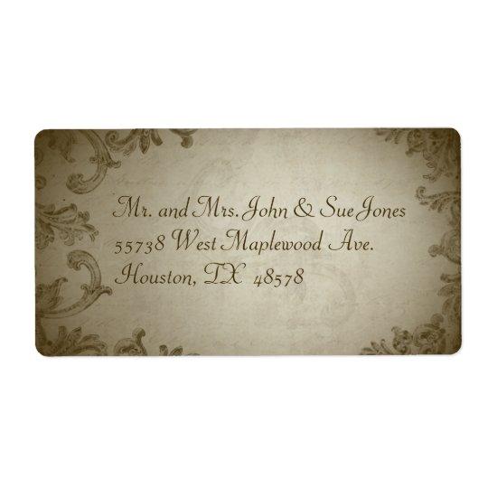 Vintage Wedding Address Label