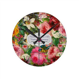 Vintage Wedding Anniversary ROSES - Commemorative Round Clock