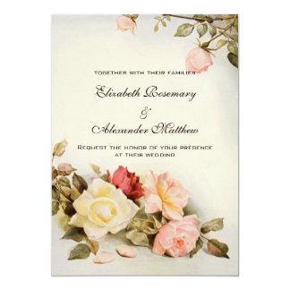 Vintage Wedding Antique Garden Rose Flowers Floral Card