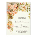 Vintage Wedding, Antique Pink Rose Flowers Floral Custom Announcement