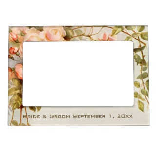 Vintage Wedding, Antique Pink Rose Flowers Floral Magnetic Frame
