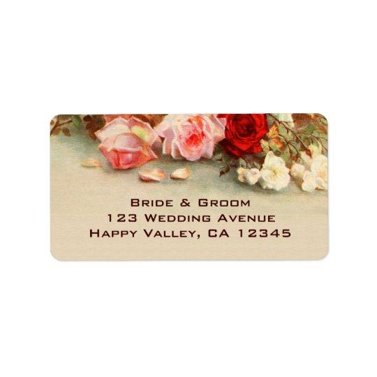 Vintage Wedding, Antique Rose Flowers Floral Art Address Label