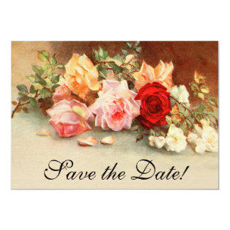 Vintage Wedding Antique Rose Flowers Save the Date 13 Cm X 18 Cm Invitation Card