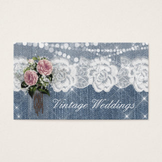 Vintage Wedding Baby's Breath Rose Flower Denim Business Card