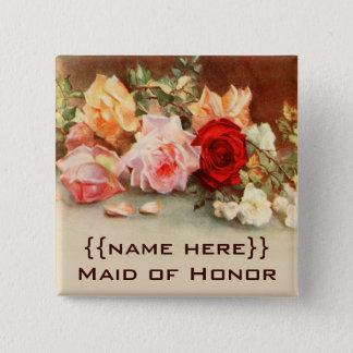 Vintage Wedding Badge Antique Roses Flowers Floral