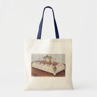 Vintage Wedding Banquet Table Budget Tote Bag