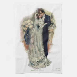 Vintage Wedding Bells Bride And Groom Tea Towel