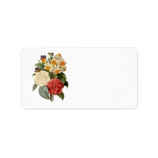 Vintage Wedding Bouquet, Blooming Flowers Address Label