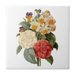 Vintage Wedding Bouquet, Blooming Flowers Small Square Tile