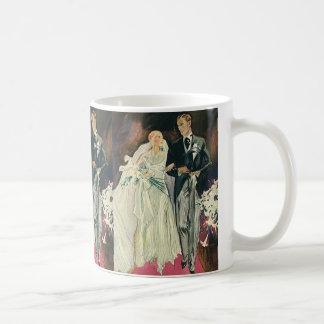 Vintage Wedding, Bride and Goom, Newlyweds Basic White Mug