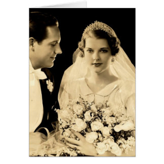 Vintage Wedding Bride and Groom Card