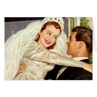 Vintage Wedding Bride and Groom Happy Newlyweds Card
