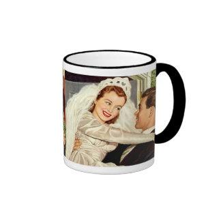 Vintage Wedding Bride and Groom, Happy Newlyweds Coffee Mugs