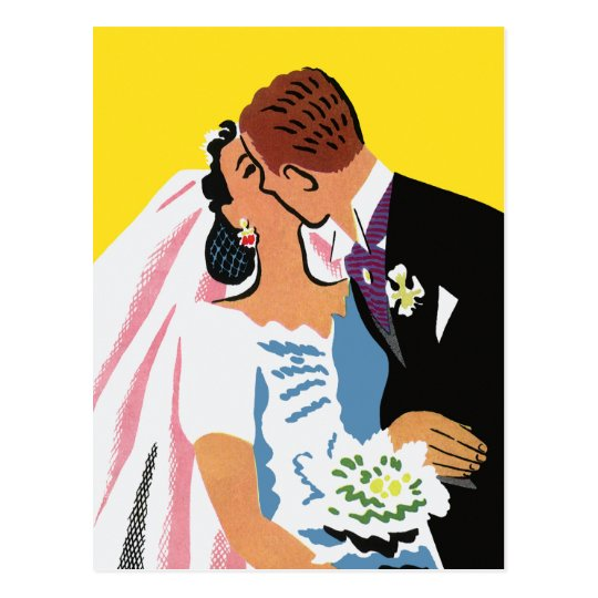 Vintage Wedding, Bride and Groom Newlyweds Kissing Postcard